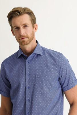 Erkek Giyim - ORTA LACİVERT XL Beden Kısa Kol Regular Fit Desenli Gömlek