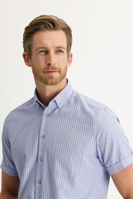 Erkek Giyim - LİLA M Beden Kısa Kol Regular Fit Desenli Gömlek