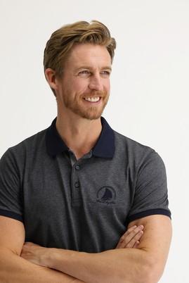 Erkek Giyim - BULUT GRİ XL Beden Polo Yaka Slim Fit Desenli Tişört