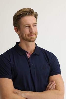 Erkek Giyim - ORTA LACİVERT L Beden Polo Yaka Slim Fit Desenli Tişört