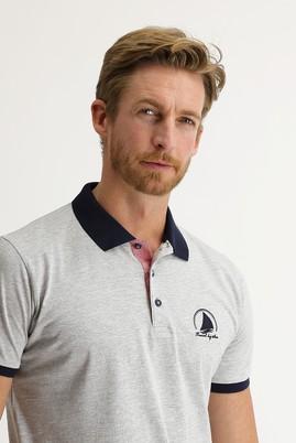 Erkek Giyim - AÇIK GRİ MELANJ L Beden Polo Yaka Slim Fit Desenli Tişört