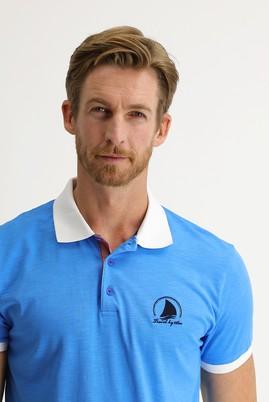 Erkek Giyim - AÇIK MAVİ XL Beden Polo Yaka Slim Fit Desenli Tişört
