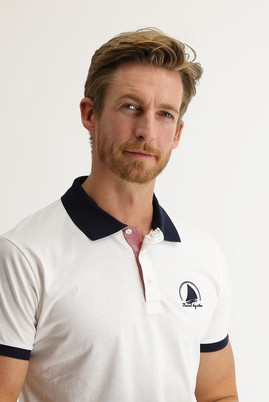 Erkek Giyim - Beyaz 3X Beden Polo Yaka Slim Fit Desenli Tişört