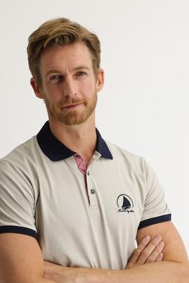Erkek Giyim - EKRU 3X Beden Polo Yaka Slim Fit Desenli Tişört