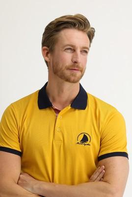 Erkek Giyim - SAFRAN 3X Beden Polo Yaka Slim Fit Desenli Tişört