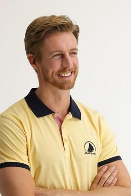 Erkek Giyim - KOYU SARI 3X Beden Polo Yaka Slim Fit Desenli Tişört