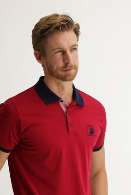 Erkek Giyim - AÇIK BORDO L Beden Polo Yaka Slim Fit Desenli Tişört