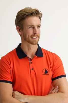 Erkek Giyim - ORTA TURUNCU 3X Beden Polo Yaka Slim Fit Desenli Tişört