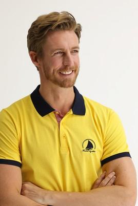 Erkek Giyim - AÇIK SARI L Beden Polo Yaka Slim Fit Desenli Tişört
