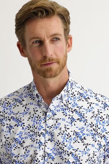 Erkek Giyim - Kısa Kol Relax Fit Desenli Gömlek