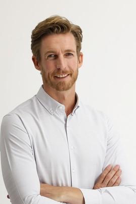 Erkek Giyim - AÇIK GRİ L Beden Uzun Kol Slim Fit Desenli Gömlek