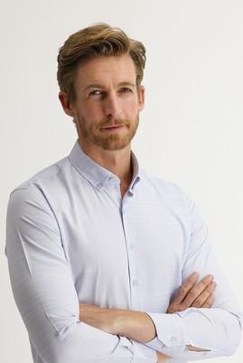 Erkek Giyim - GÖK MAVİSİ S Beden Uzun Kol Slim Fit Desenli Gömlek