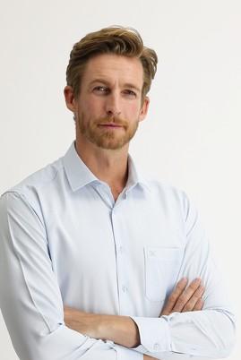 Erkek Giyim - UÇUK MAVİ 3X Beden Uzun Kol Desenli Klasik Gömlek