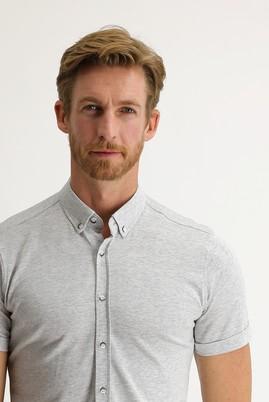 Erkek Giyim - ORTA GRİ S Beden Polo Yaka Gömlek Tişört