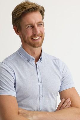 Erkek Giyim - AÇIK MAVİ L Beden Polo Yaka Gömlek Tişört