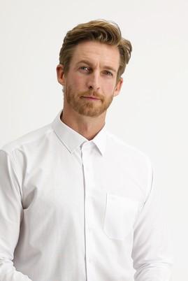 Erkek Giyim - BEYAZ XL Beden Uzun Kol Çizgili Klasik Gömlek