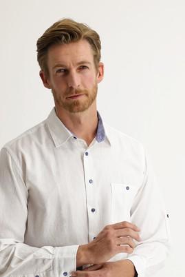 Erkek Giyim - Beyaz XL Beden Uzun Kol Regular Fit Keten Gömlek