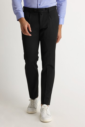 Erkek Giyim - Slim Fit Pileli Klasik Pantolon