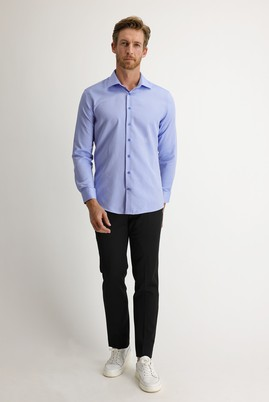 Erkek Giyim - SİYAH 46 Beden Slim Fit Pileli Klasik Pantolon