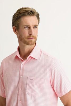 Erkek Giyim - PEMBE 3X Beden Kısa Kol Regular Fit Desenli Spor Gömlek