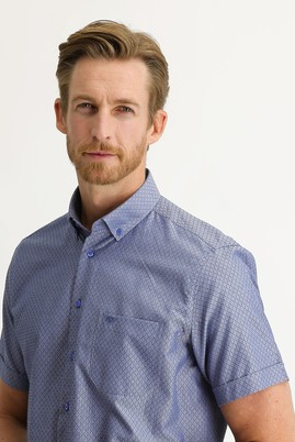 Erkek Giyim - KOYU LACİVERT 4X Beden Kısa Kol Regular Fit Desenli Gömlek