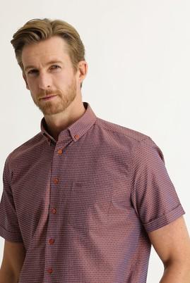 Erkek Giyim - ORTA TURUNCU 4X Beden Kısa Kol Regular Fit Desenli Gömlek