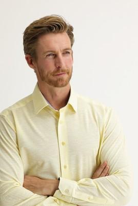 Erkek Giyim - AÇIK SARI L Beden Uzun Kol Slim Fit Desenli Gömlek