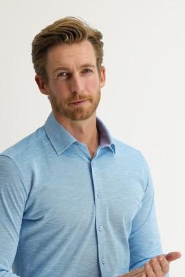 Erkek Giyim - AÇIK TURKUAZ L Beden Uzun Kol Slim Fit Desenli Gömlek