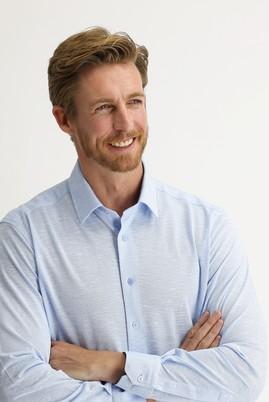 Erkek Giyim - UÇUK MAVİ XL Beden Uzun Kol Slim Fit Desenli Gömlek