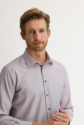 Erkek Giyim - AÇIK BORDO 3X Beden Uzun Kol Desenli Klasik Gömlek
