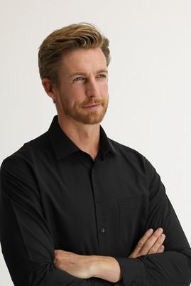 Erkek Giyim - SİYAH 4X Beden Uzun Kol Desenli Klasik Gömlek