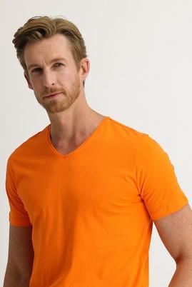 Erkek Giyim - AÇIK TURUNCU L Beden V Yaka Slim Fit Tişört