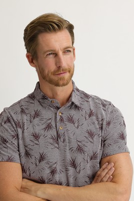 Erkek Giyim - ŞARAP BORDO L Beden Polo Yaka Regular Fit Desenli Tişört