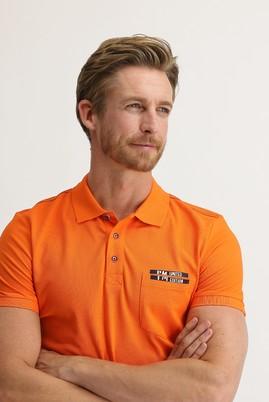 Erkek Giyim - AÇIK TURUNCU M Beden Polo Yaka Slim Fit Baskılı Tişört