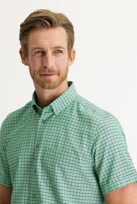Erkek Giyim - ÇİMEN YEŞİLİ M Beden Kısa Kol Regular Fit Desenli Gömlek