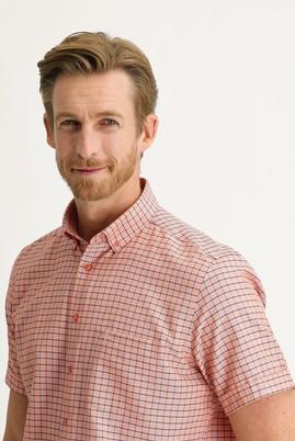 Erkek Giyim - ORTA TURUNCU 3X Beden Kısa Kol Regular Fit Desenli Gömlek