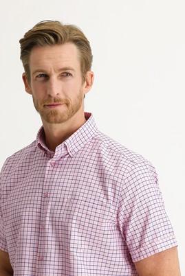 Erkek Giyim - TOZ PEMBE 3X Beden Kısa Kol Regular Fit Desenli Gömlek