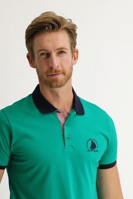 Erkek Giyim - ORMAN YEŞİLİ XL Beden Polo Yaka Slim Fit Desenli Tişört