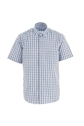 Erkek Giyim - AÇIK MAVİ M Beden Kısa Kol Regular Fit Ekose Gömlek