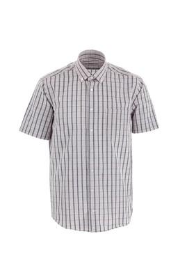 Erkek Giyim - Açık Gri M Beden Kısa Kol Regular Fit Ekose Gömlek
