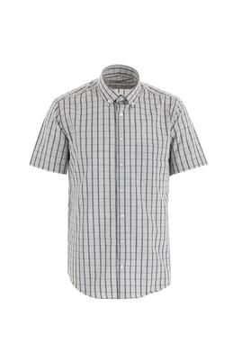 Erkek Giyim - BEYAZ L Beden Kısa Kol Regular Fit Ekose Gömlek
