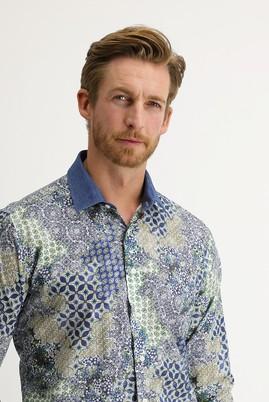 Erkek Giyim - ÇAĞLA YEŞİLİ 4X Beden Uzun Kol Regular Fit Baskılı Gömlek
