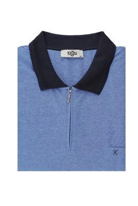 Erkek Giyim - GÖK MAVİSİ 4X Beden King Size Polo Yaka Regular Fit Fermuarlı Tişört