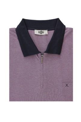 Erkek Giyim - PATLICAN MORU 6X Beden Büyük Beden Polo Yaka Regular Fit Fermuarlı Tişört