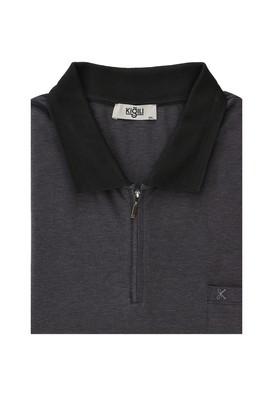 Erkek Giyim - SİYAH 7X Beden King Size Polo Yaka Regular Fit Fermuarlı Tişört