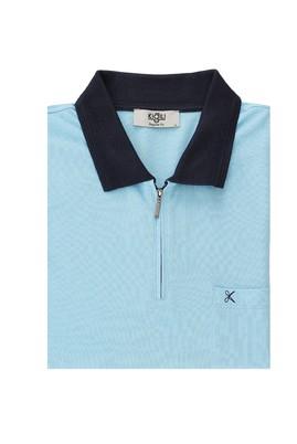 Erkek Giyim - AQUA MAVİSİ 3X Beden King Size Polo Yaka Fermuarlı Regular Fit Tişört