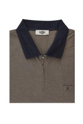 Erkek Giyim - ORTA KAHVE 6X Beden King Size Polo Yaka Regular Fit Fermuarlı Tişört