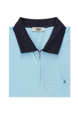 Erkek Giyim - AQUA MAVİSİ 7X Beden King Size Polo Yaka Regular Fit Fermuarlı Tişört