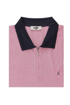 Erkek Giyim - ORTA PEMBE 5X Beden Büyük Beden Polo Yaka Regular Fit Fermuarlı Tişört