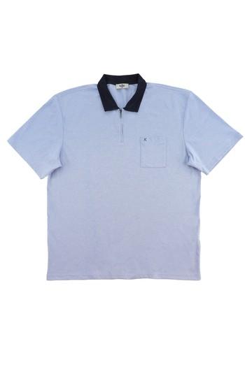 Erkek Giyim - King Size Polo Yaka Regular Fit Fermuarlı Tişört